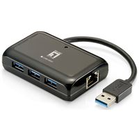 Adaptador usb3.0 a ethernet rj45 gigabit con hub 3.0 3p. level one usb-0502 - ADAP-USB-RJ+HU