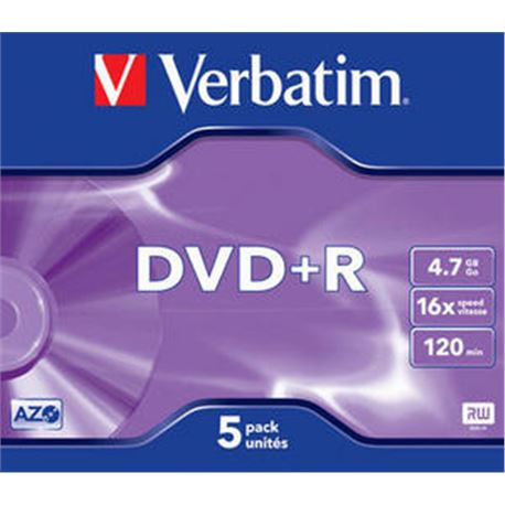 Dvd+r (pack 5 unidades) (jewel case) verbatim ( 43497 ) - DVD-VE-43497