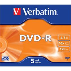 Dvd-r ( pack 5 unidades )(jewel case) verbatim ( 43519 ) - DVD-VE-43519