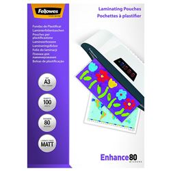 Fundas de plastificar fellowes 5452003 a3 mate 80 micras pack 100 - FUN-FE-5452003