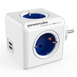 Regleta powercube 4 tomas + 2 usb allocacoc (azul) ( 8718444082163 ) - RE-ALLO-2163