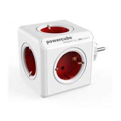 Regleta powercube 5 tomas allocacoc (rojo) ( 8718444085652 ) - RE-ALLO5652