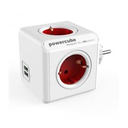 Regleta powercube 4 tomas + 2 usb allocacoc (rojo) ( 8718444085790 ) - RE-ALLO-5690