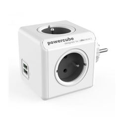 Regleta powercube 4 tomas + 2 usb allocacoc (gris) ( 8718444085713 ) - RE-ALLO-5713